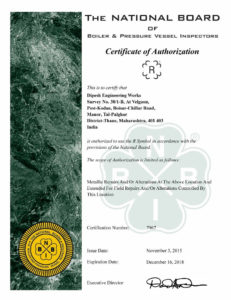 "ASME ""R"" CERTIFICATION"